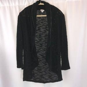 Splendid Black Cardigan with Leather Trim - S